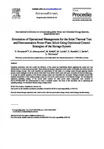 Simulation of Operational Management for the Solar Thermal Test and ...