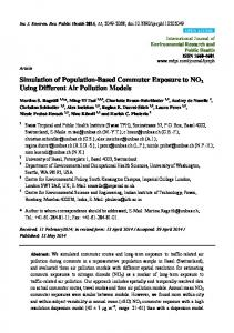 Simulation of Population-Based Commuter Exposure to NO2 ... - MDPI