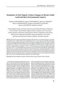 Simulation of Soil Organic Carbon Changes in Slovak Arable Land ...