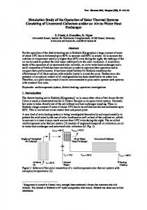 Simulation Study of the Operation of Solar Thermal Systems ...