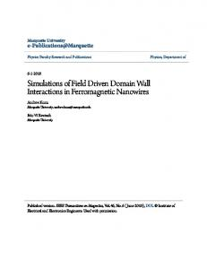 Simulations of Field Driven Domain Wall Interactions in Ferromagnetic ...
