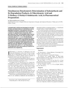Simultaneous Densitometric Determination of Indomethacin and Its ...