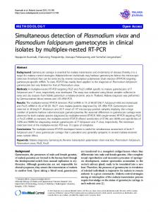 Simultaneous detection of Plasmodium vivax and Plasmodium ...