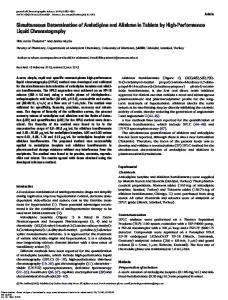 Simultaneous Determination of Amlodipine and