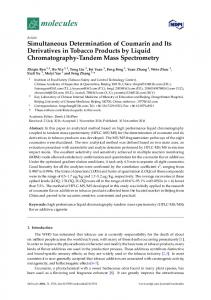 Simultaneous Determination of Coumarin and Its Derivatives in ... - MDPI