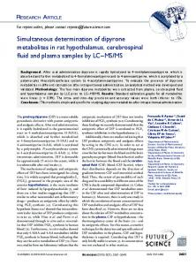Simultaneous determination of dipyrone metabolites ... - Future Science