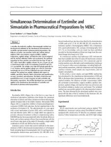 Simultaneous Determination of Ezetimibe and Simvastatin in ...