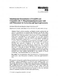 Simultaneous determination of iron (III) and cobalt (II) withN ...