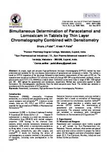 Simultaneous Determination of Paracetamol and Lornoxicam in ...