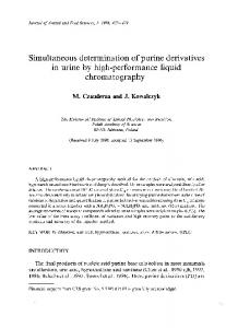 Simultaneous determination of purine derivatives in urine by high ...