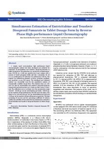 Simultaneous Estimation of Emtricitabine and Tenofovir Disoproxil ...
