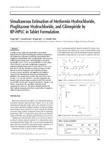 Simultaneous Estimation of Metformin Hydrochloride, Pioglitazone ...