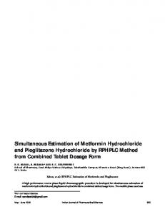 Simultaneous Estimation of Metformin Hydrochloride and Pioglitazone ...