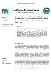 Simultaneous Estimation of Phenylephrine Hydrochloride and Benzyl ...