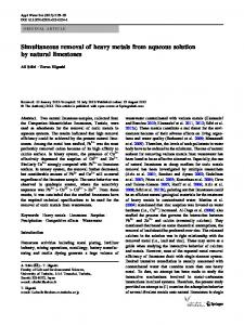 Simultaneous removal of heavy metals from aqueous solution by ...