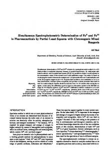 Simultaneous Spectrophotometric Determination of Fe and Fe in ...
