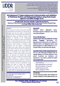 Simultaneous UV-Spectrophotometric determination and validation of
