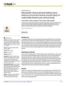 Simvastatin dose and acute kidney injury without concurrent ... - PLOS