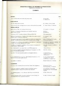 singapore journal of obstetrics & gynaecology contents