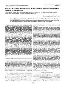 Single Amino Acid Substitutions in the Reactive Site of Antithrombin ...