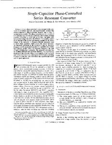 Single-capacitor phase-controlled series resonant converter - Circuits