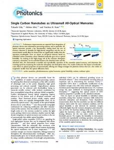 Single Carbon Nanotubes as Ultrasmall All-Optical ... - ACS Publications