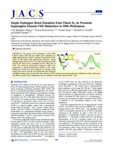 Single Hydrogen Bond Donation from Flavin N5 to ... - ACS Publications
