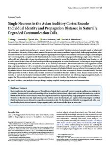Single Neurons in the Avian Auditory Cortex Encode Individual Identity ...