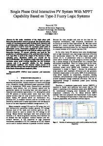 Single Phase Grid Interactive PV System With MPPT ... - IEEE Xplore