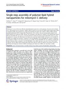 Single-step assembly of polymer-lipid hybrid nanoparticles for ...
