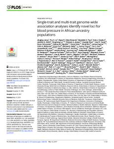 Single-trait and multi-trait genome-wide ... - Semantic Scholar
