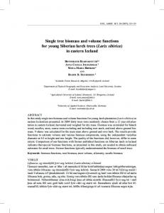 Single tree biomass and volume functions for young ... - Landbunadur.is