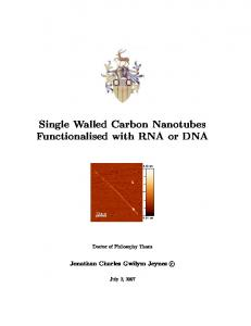 Single Walled Carbon Nanotubes Functionalised with