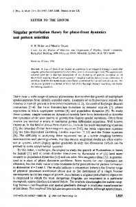 Singular perturbation theory for phase-front dynamics ... - McGill Physics