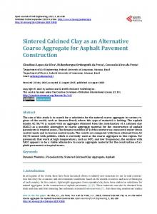 Sintered Calcined Clay as an Alternative Coarse Aggregate for ...