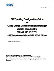 SIP Trunking Configuration Guide for Cisco Unified Communications ...
