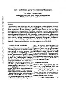 SIR-an Efficient Solver for Systems of Equations