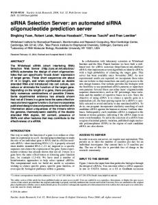 siRNA Selection Server: an automated siRNA ... - BioMedSearch