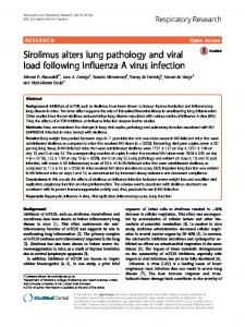 Sirolimus alters lung pathology and viral load following influenza A ...