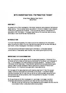 SITE INVESTIGATION: ITS PRACTICE TODAY