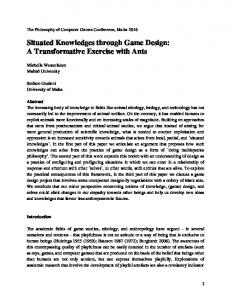 Situated Knowledges through Game Design: A Transformative ...