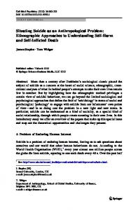 Situating Suicide as an Anthropological Problem: Ethnographic ...