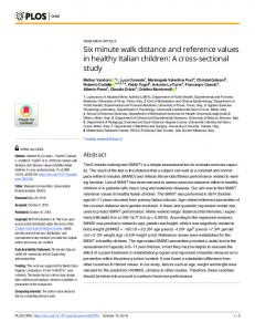 Six minute walk distance and reference values in healthy ... - PLOS