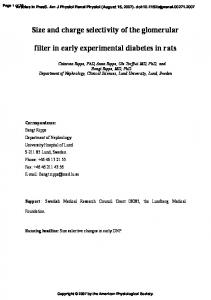 Size and charge selectivity of the glomerular filter in early ...
