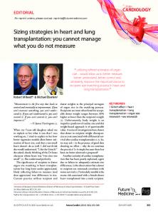 Sizing strategies in heart and lung transplantation - Future Medicine