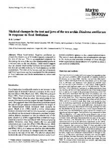 Skeletal changes in the test and jaws of the sea urchin ... - FSU Biology