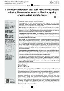 Skilled labour supply in the South African construction industry: The ...
