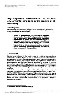 Sky brightness measurements for different environmental conditions ...