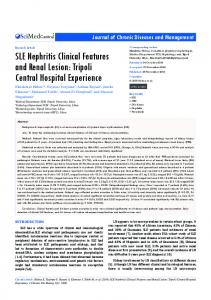 SLE Nephritis Clinical Features and Renal Lesion - Semantic Scholar
