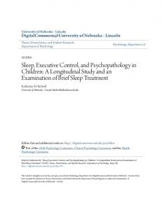 Sleep, Executive Control, and Psychopathology in Children: A ...